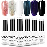 TOMICCA 6 Colours Gel Polish for Nail Art Design, Glitter Effect UV LED Soak Off