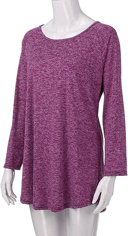 NREALY Womens Plus Size Solid Color RounLong Sleeve Blouse Pullover Tops Shirt Sweatshirt