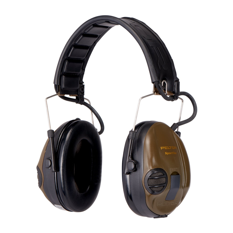 3M Peltor SportTac - Casque anti-bruit - Protection auditive pour la chasse contre les bruits de fusil - Atténuation 26 dB - 1 x casque antibruit, vert product image