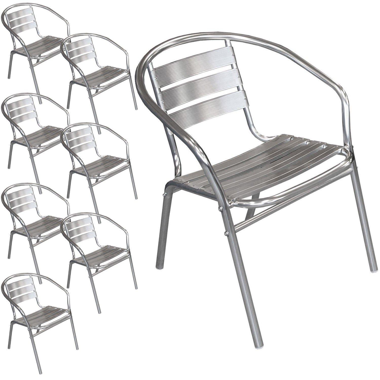 8 Stück Bistrostuhl Stapelbar Aluminium Stapelstuhl Campingstuhl Gartenstuhl  Küchenstuhl Gartenmöbel Silber Kaufen