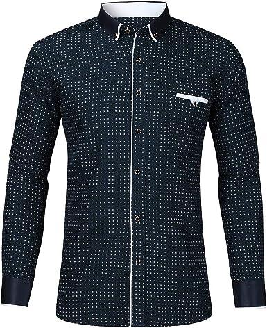 SO-buts Hombres Nuevo Otoño Invierno Moda Casual Manga Larga Impreso Solapas Camisa De Negocios Blusa Tops: Amazon.es: Ropa y accesorios