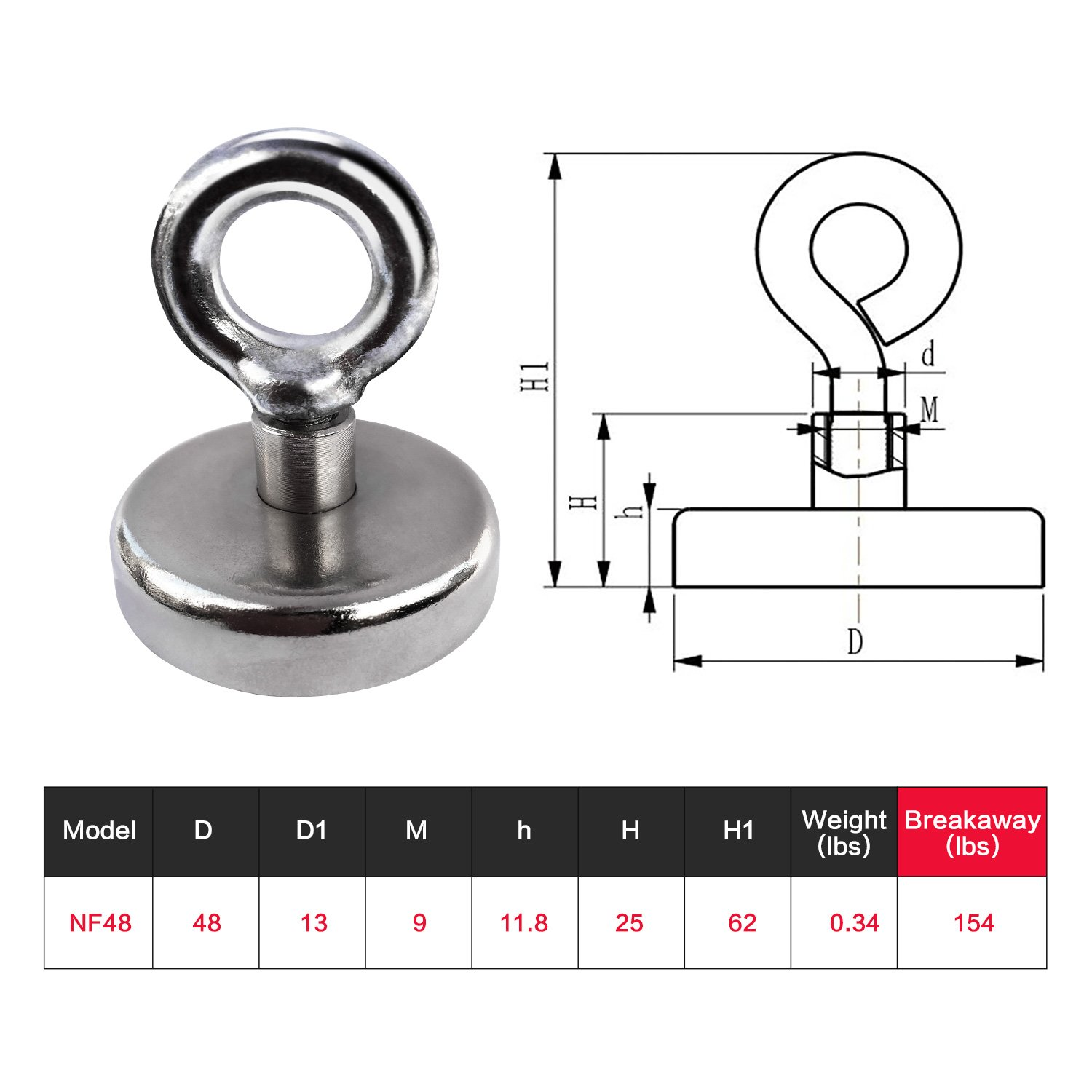 JPGmag Heavy Duty Magnets 154 Lbs/70 KG,Powerful Bonded Neodymium Rare Earth Fishing Underwater Magnets for Pulling Force Coated with Screws,Eyebolt,Diameter 1.89Inch(48mm) by JPGMAG (Image #2)