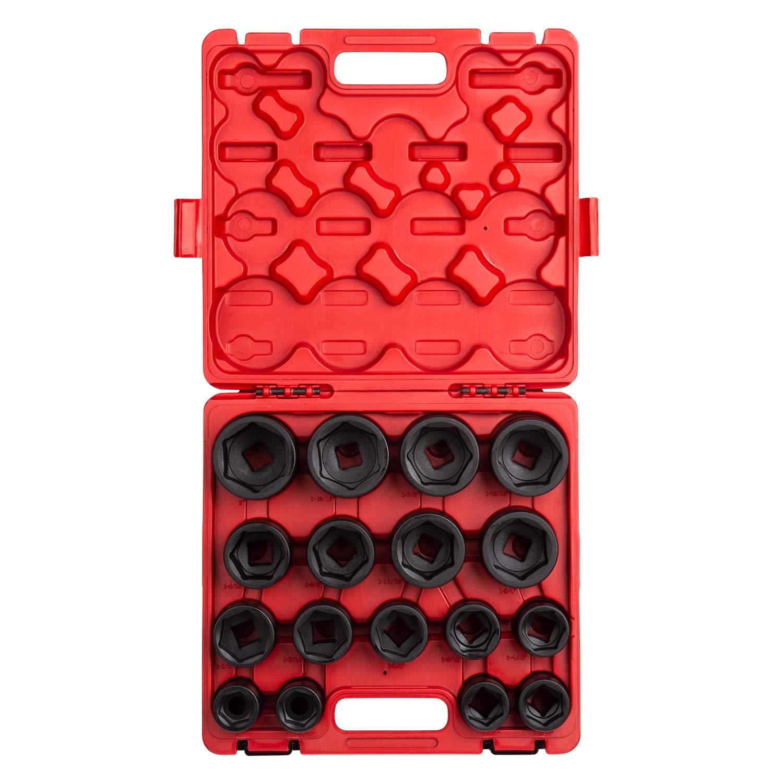 Sunex 4683, 3/4 Inch Drive Heavy Duty Impact Socket Set, 17-Piece, SAE, 1''-2'', Cr-Mo Alloy Steel, Radius Corner Design, Dual Size Markings, Heavy Duty Storage Case by Sunex Tools