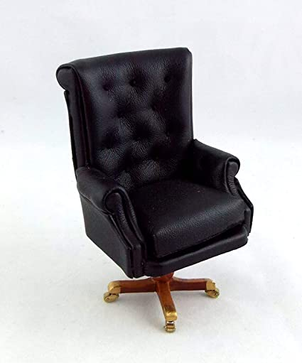 Dollhouse Miniature Furniture Office Home Modern White Vinyl Relaxing Chair 1:12