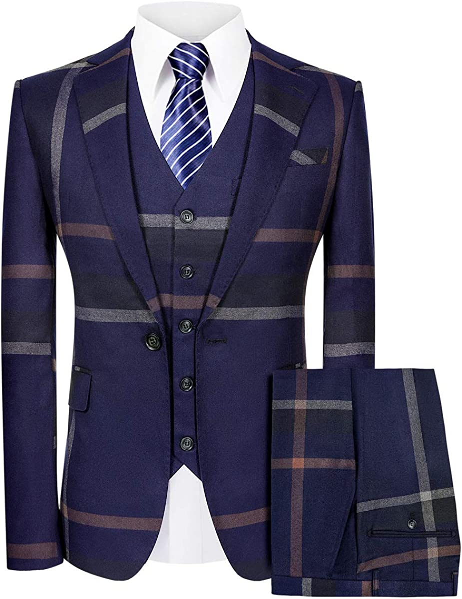 MAGE MALE Men's Plaid Suit Slim Fit 3-Piece Leisure Suit One Button Blazer Dress Business Wedding Party Jacket Vest & Pants
