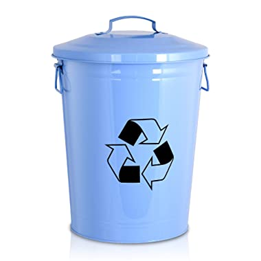 Silky Road Recycling Bin with Lid in Retro Baby Blue Galvanized Stainless Steel - 6.5-Gallon / 24.5-Liter - Rugged Indoor Trash Can - Unique Kitchen Wastebasket - Home Recycle Container