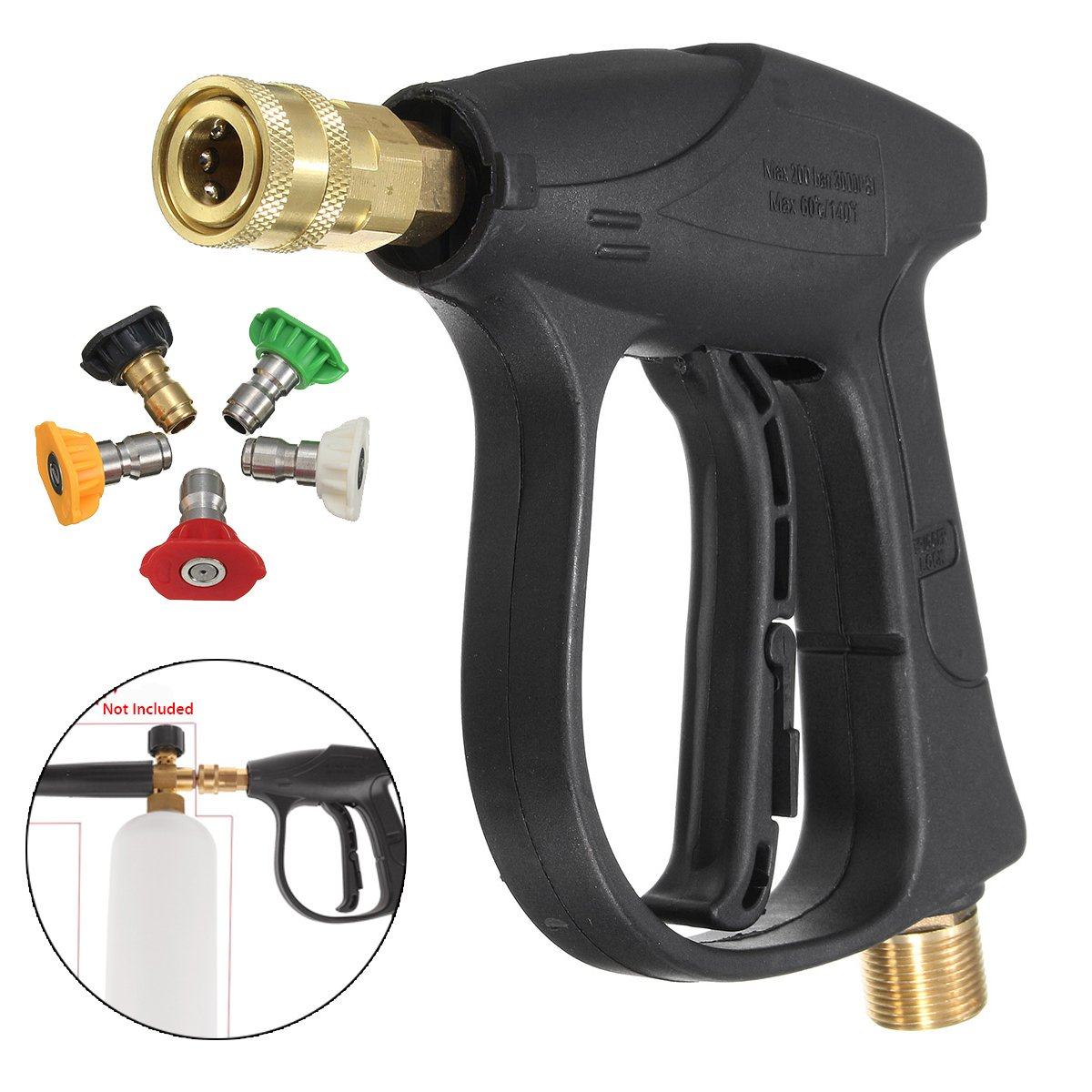 Force Washing Machine - Car Motorcycle Bicycle 200bar 3000psi Pressure Washer Gun 5 Nozzle - Overflowing School Pinched Luxuriously Upper Blackjack Altissimo Sharp Falsetto - 1PCs by Unknown