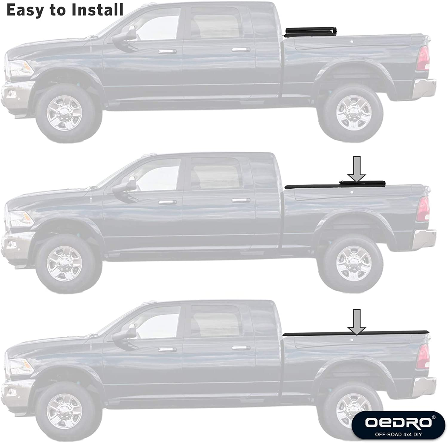 oEdRo Tri-Fold Truck Bed Tonneau Cover Compatible with 2005-2019 ...