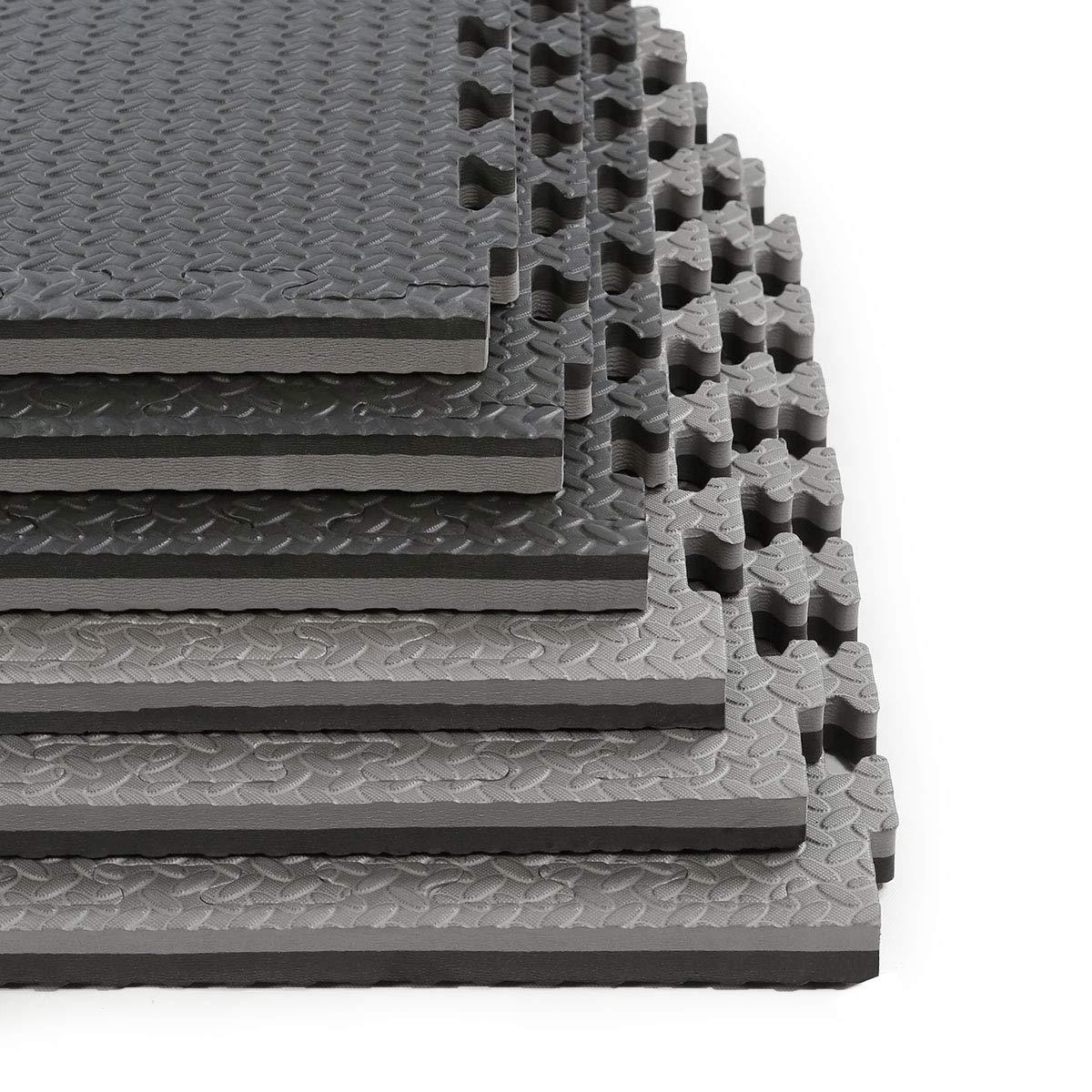 Clevr 1'' Thick EVA Exericse Mat | Reversible and Interlocking Gym Foam Floor Mat Tiles (24'' x 24'') | Protective Flooring | Steel Pattern | 12 Pcs, 48 sqft | 1 Year Limited Warranty | Black Grey