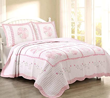 Amazon cozy line home fashions daisy field bedding quilt set cozy line home fashions daisy field bedding quilt set pink white flower floral embroidered real mightylinksfo
