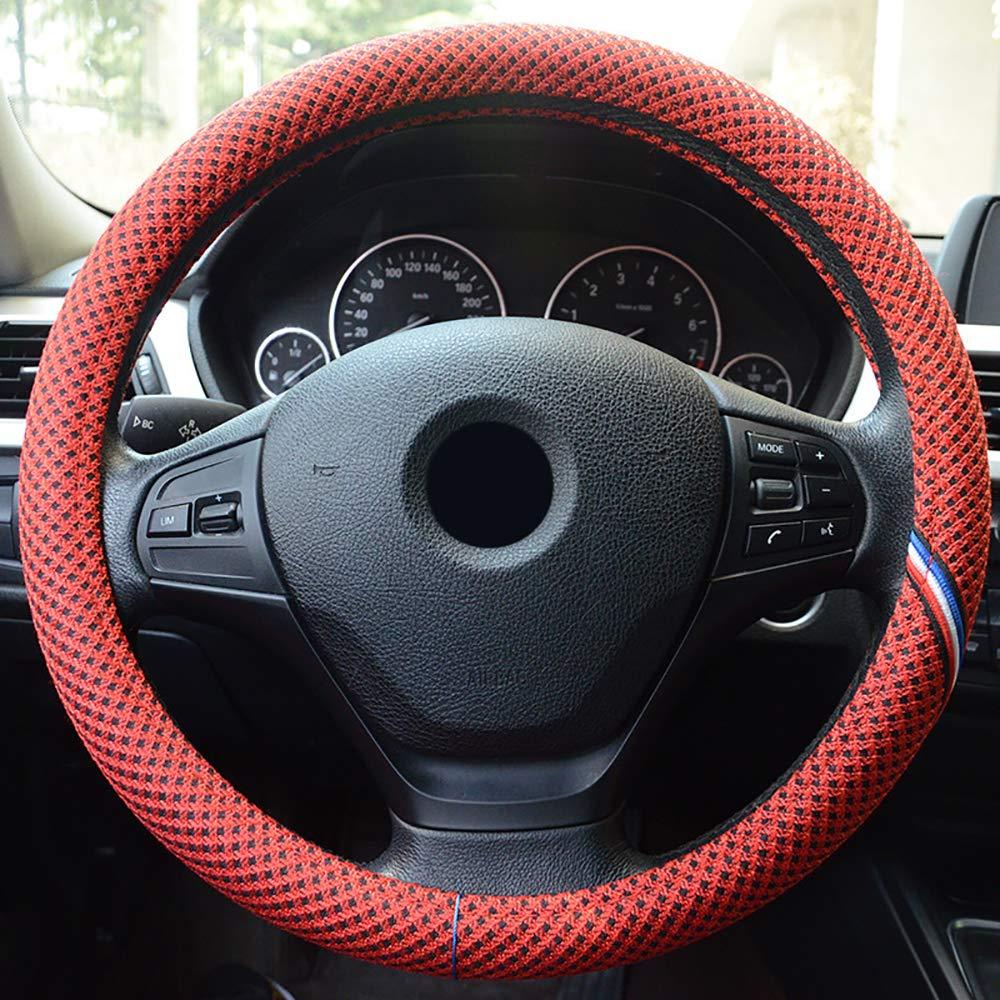 LXYFC Universal Cubierta de Volante automotriz Lino sofy Antideslizante y absorción de Sudor Ajuste 38cm / 15 Pulgadas