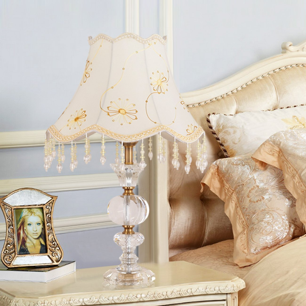 Garwarm Crystal Flower Table Lamps For Living Room Bedroom,3555CM/13.721.6 Inch WH