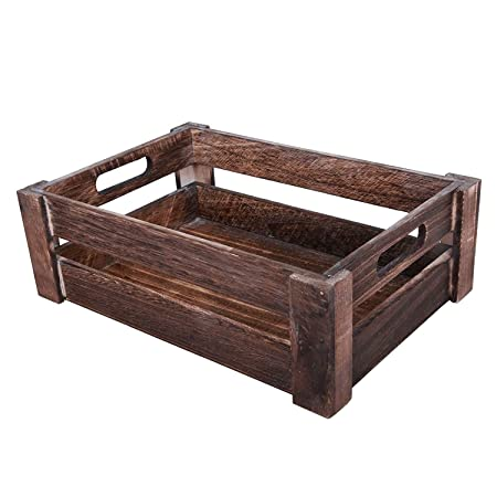 Basic House Ltd Whitebrown Wooden Apple Crates Storage Collection Box Display Tray Small Brown