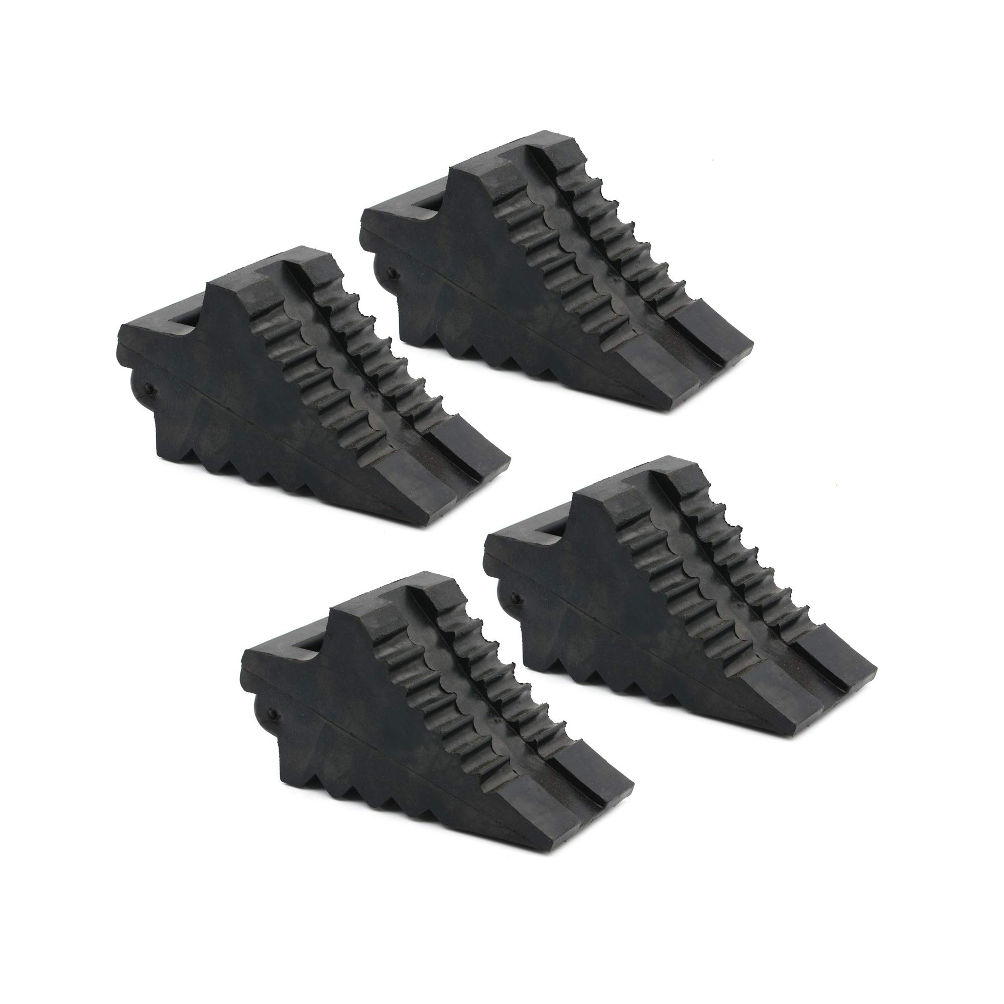 AFA Chock Blocks (4 Pcs) Rubber Dual Wheel Tire Chocks Front and Back for Camper, Trailer, RV, Truck, Car and ATV - Best Heavy Duty Vehicle Wedge Design with Handle and Garage Grip Bottom