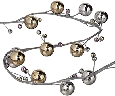 CC Home Furnishings Pack of 2 Silver and Gold Luster Garland 8'