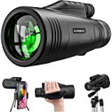 Monocular Telescope 12x50 High Definition with Quick Smartphone Adapter&Tripod&Hand Strap Waterproof Night Vision…