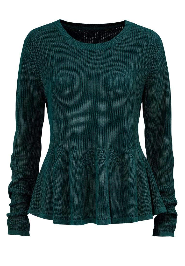 Ellos Women's Plus Size Long Sleeve Peplum Sweater