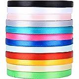 270m Satinband (0,6 cm breit) Seidenbänder Seidenband Schleifenband Hochzeit Dekoband Satin Geschenkband (270 M (6 mm breit), 12 Farben)