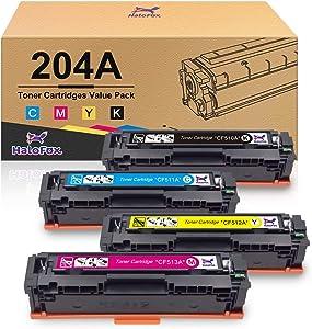HaloFox Compatible Toner Cartridge Replacement for HP 204A CF510A CF511A CF512A CF513A Pro MFP M180n M180nw M181fw M154a M154nw Color Laserjet Pro Printer (Black, Cyan, Yellow, Magenta, 4-Pack)