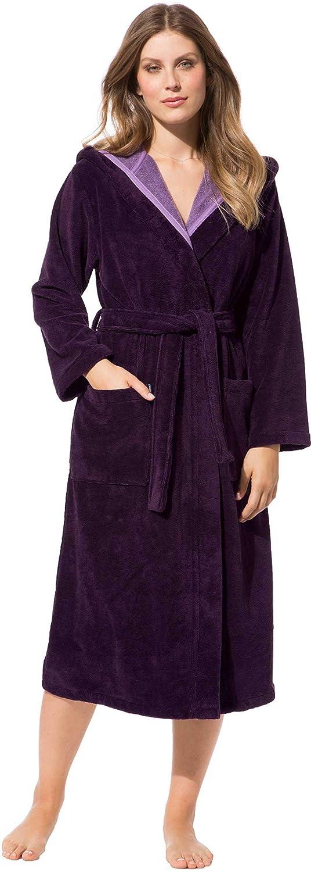Morgenstern, Damen Bademantel mit Kapuze, Größe XL, Farbe burgund, kuschelige Außenseite, gut wasseraufnehmende Innenseite