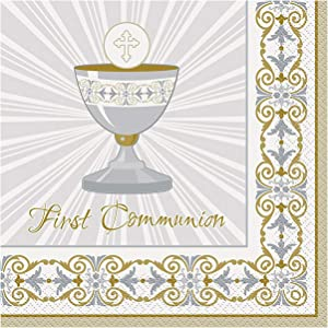 Gold & Silver Radiant Cross First Communion Party Napkins, 16ct
