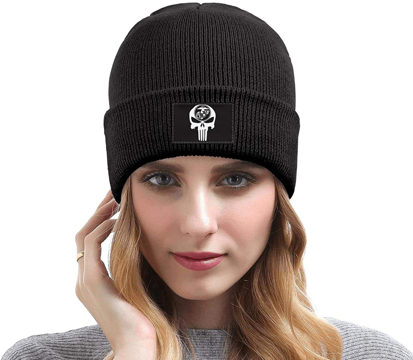 Unisex 3D Knitted Hat Skull Hat Beanie Cap United States Marine Corps