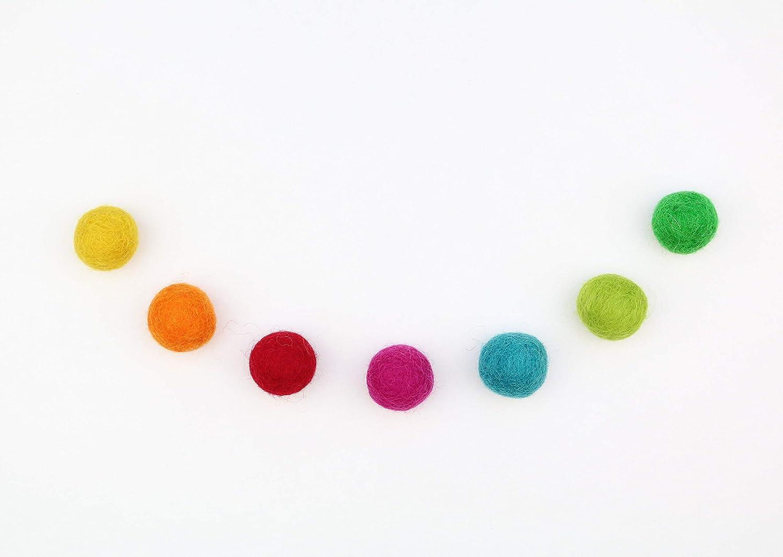 bunte Filzkugeln FarbmixKunterbunt DIY Girlande