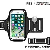 Fascia Da Braccio Sportiva iPhone 6 6s 7 , PORTHOLIC Resistente all'Acqua con Portachiavi, Comparto Cavo, Porta Scheda per iPhone 7/6, Galaxy S6/S5, iPhone 5/5C/5S fino a 5,1 Pollici (Nero)