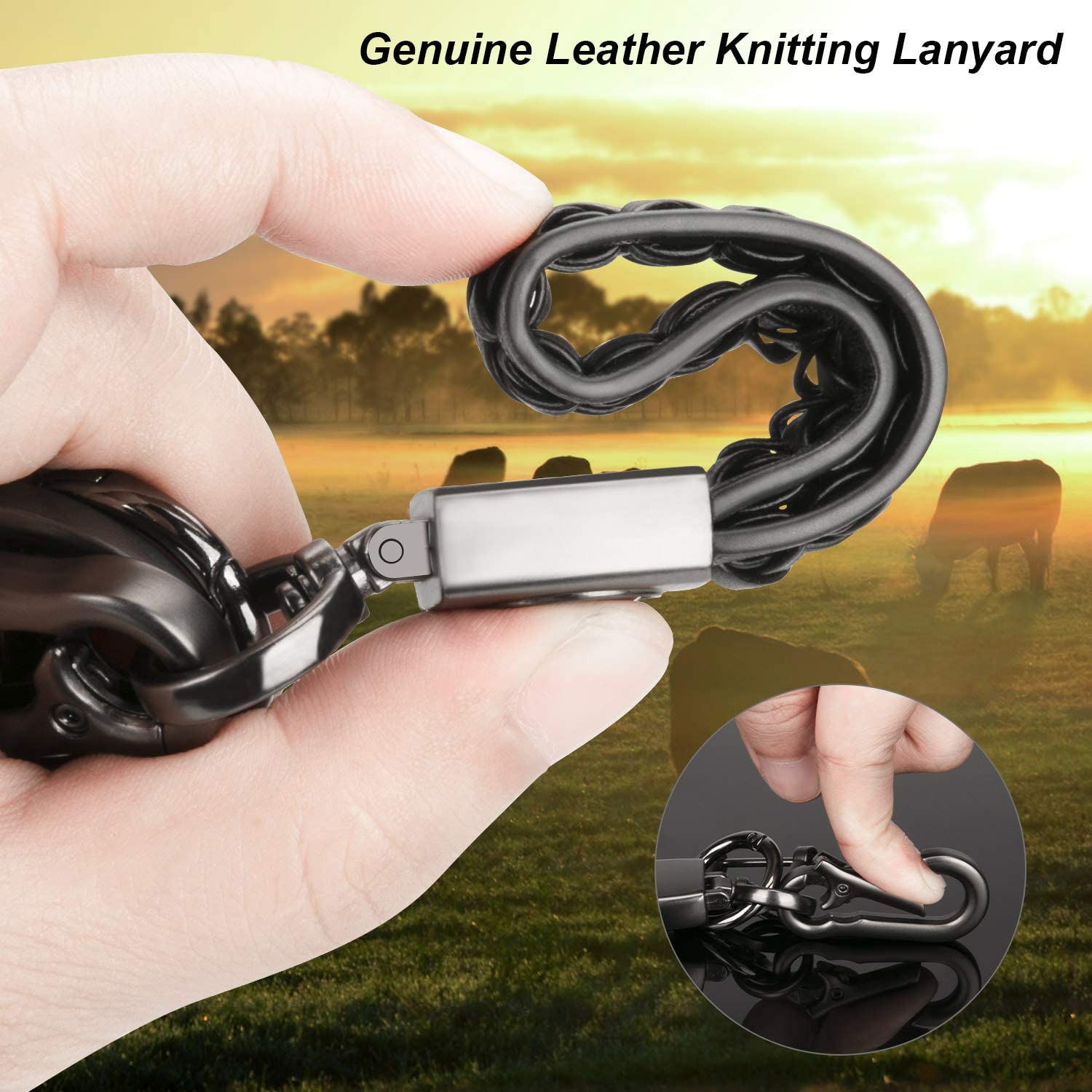 Gift Box 2Pack Genuine Leather Keychain for BMW Valet Key Chain Car Logo Accessories with 2 Detachable Sturdy Keyring