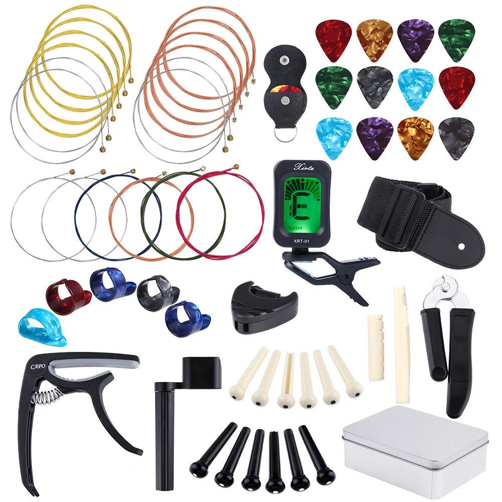 Auihiay 57 Pieces Guitar Strings Accessories Kit Including Acoustic Guitar Strings, Guitar Tuner, Capo, Picks, Guitar String Winder, Cutter, Bone Bridge, Guitar Basic Strap and Storage Box