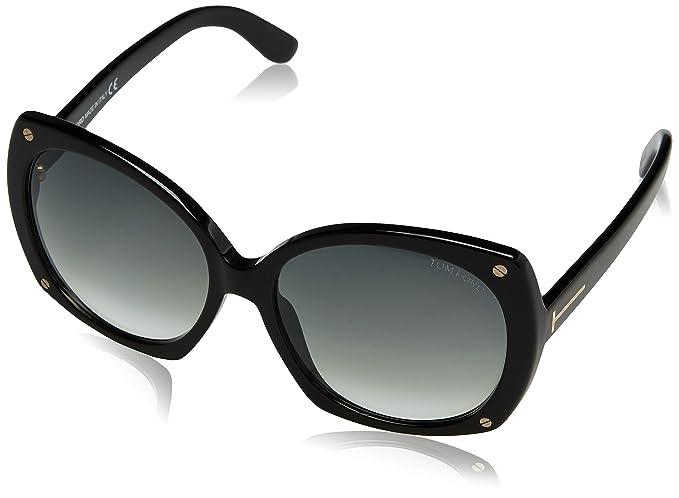 Tom Ford Womens Gabriella Sunglasses in Shiny Black FT0362 01B 59