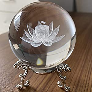 HDCRYSTALGIFTS Crystal 2.4 inch (60mm) Carving Lotus Crystal Ball with Sliver-Plated Flowering Stand,Fengshui Glass Ball Home Decoration