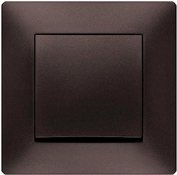 Toma de corriente Schuko Interruptor pulsador interruptor de luz Interruptor Volante marrón Uso + Marco + Protectora: Amazon.es: Bricolaje y herramientas
