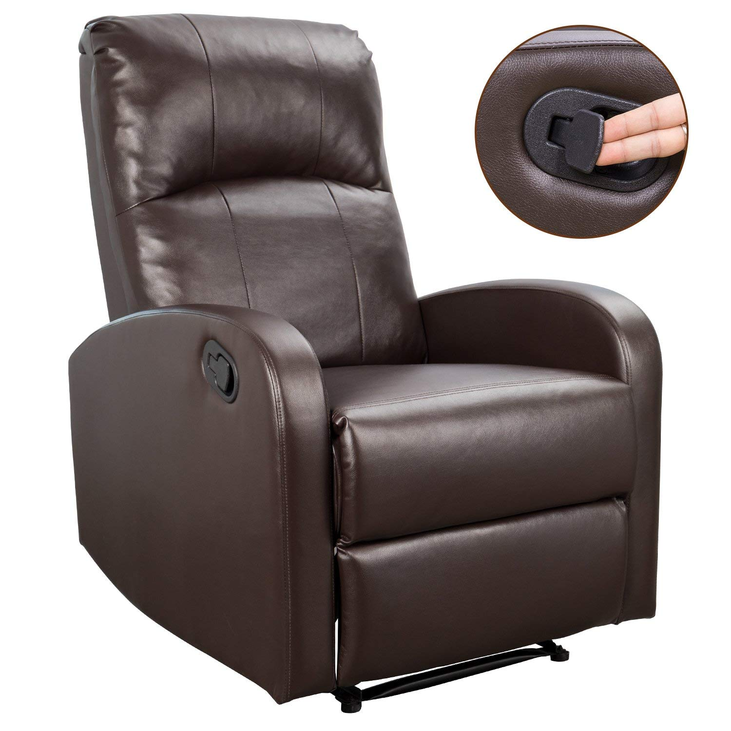 Amazon com homall phlbn recliner chair sofa home theater seating pu leather modern couch bright brown kitchen dining