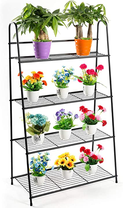 Amazon Com Doeworks 4 Tier Metal Plant Stand Ladder Shaped Storage Rack Stand Shelf Shoe Organizer Utility Storage For Indoor Outdoor Use Black Garden Outdoor