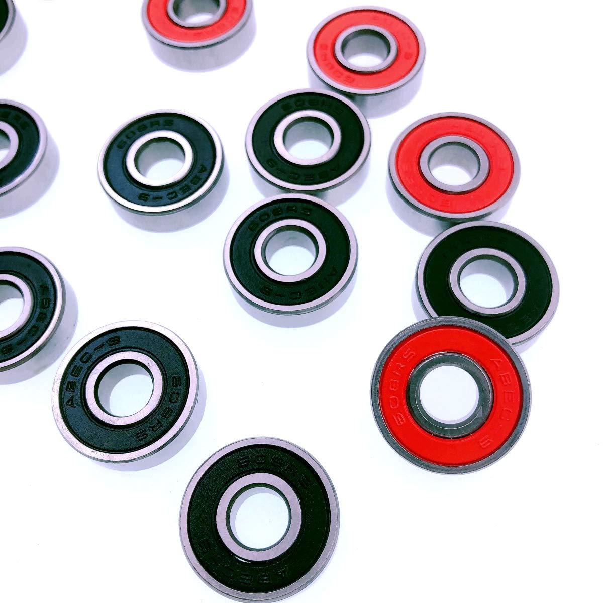 Rojo y Negro JZK 20 x Rodamientos de Skate 608 RS ABEC-9 cojinetes Patines de Rueda para Patines Patines Scooters
