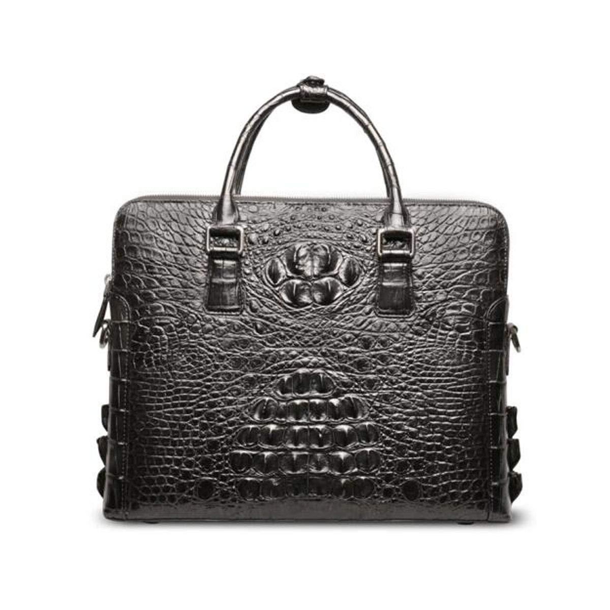 ブリーフケース、2018新しいメンズワニ革ハンドバッグ、ワニ革男性のビジネスショルダーバッグ、大容量コンピュータバッグ、ブラックサイズ:37 * 7 * 29 cm B07RBK8RQM ブラック