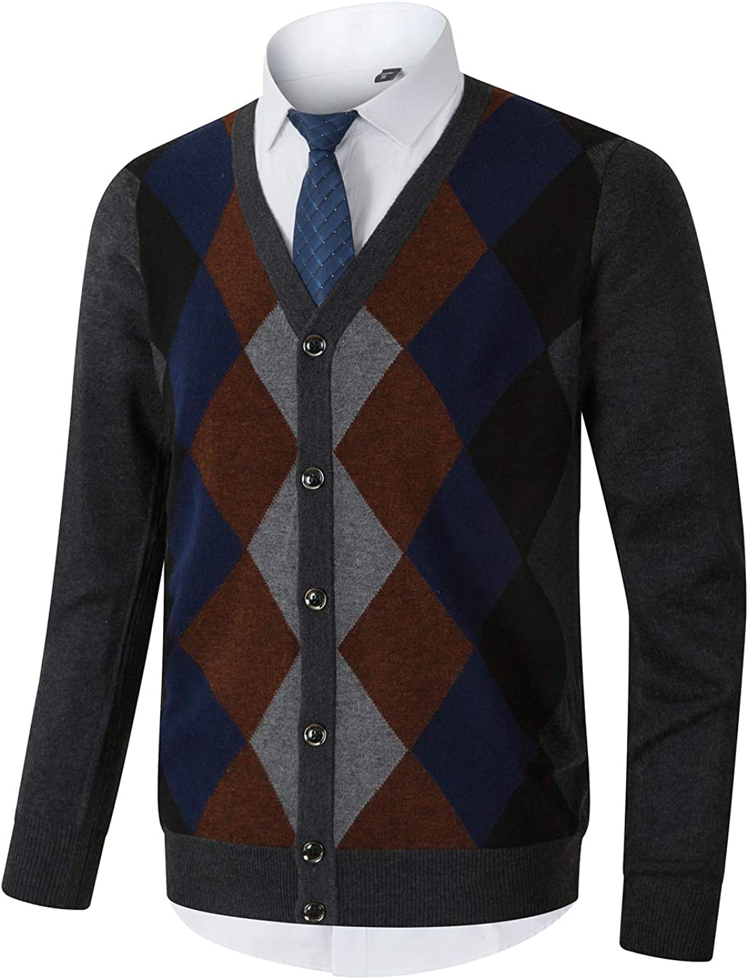 Men's Vintage Sweaters, Retro Jumpers 1920s to 1980s Homovater Mens Casual Slim Fit Long Sleeve V-Neck Cardigan Sweaters Button Down Knitwear Argyle with Ribbing Edge $28.77 AT vintagedancer.com
