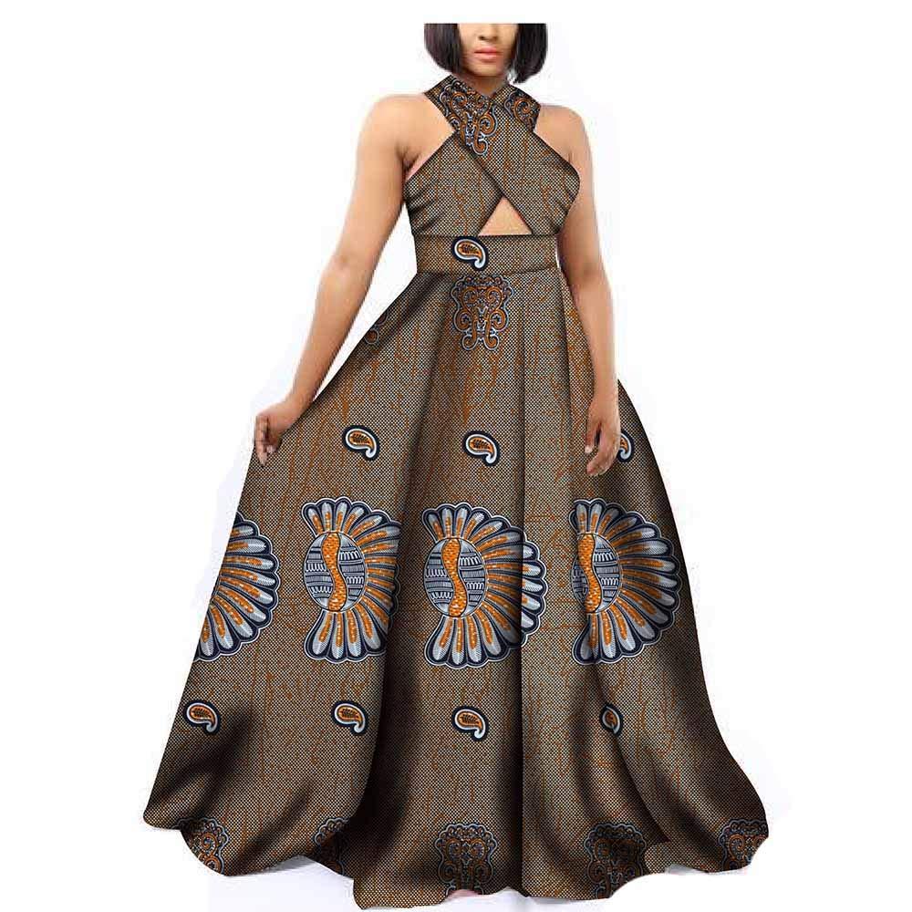 445 African Dresses for Women Party Wear Wax Print Ankara Handmade Summer Expensive Beige