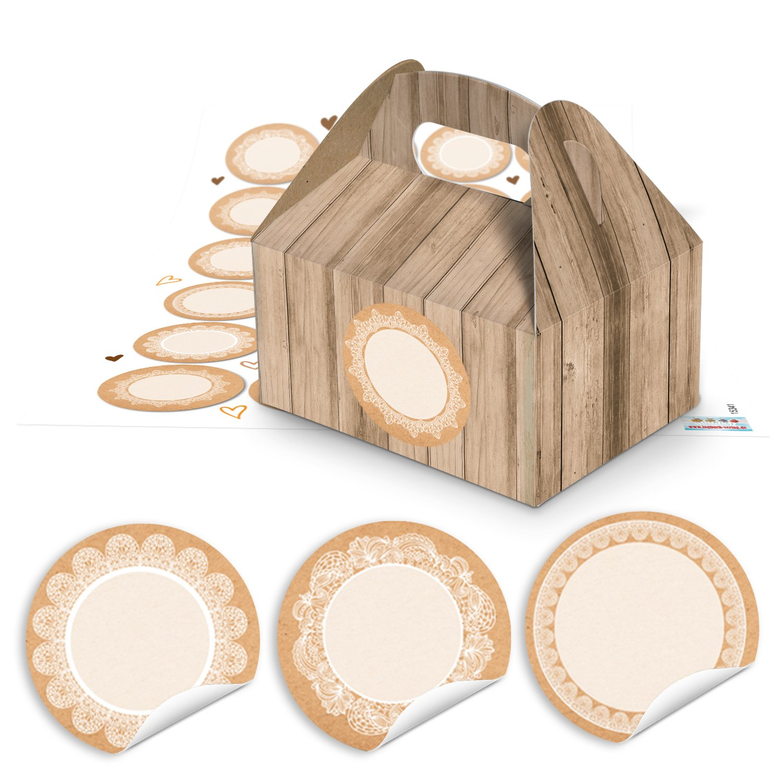 10 pequeñas cajas de regalo aspecto de madera marrón 9 x 12 x 6 cm + 24 redondas en blanco Adhesivo 4 cm papel de estraza Punta Vintage Blanco Beige del ...