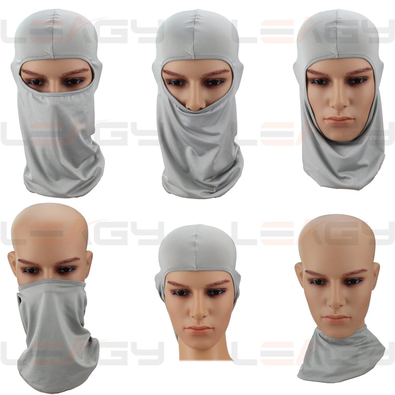 Multi-purpose Sports Balaclava Multi-functional Headwear Grey Comfort /& Fun LEAGY SunGuard UPF Uniquely Versatile It Can Be Worn in up 6 Different Ways Protection 9V-W41A-9KD Fits Women /& Men Under Any Helmet Half Mask