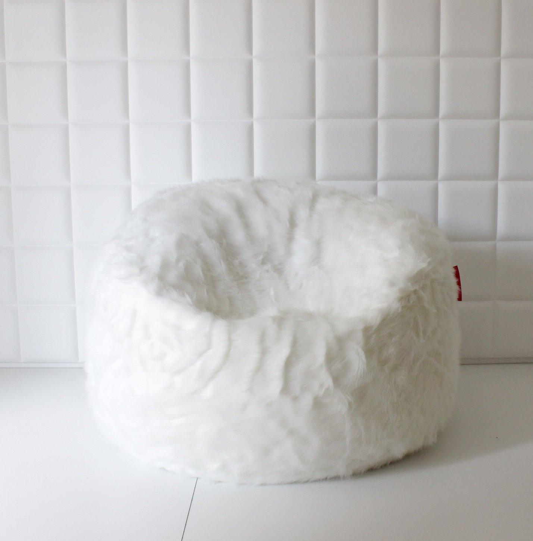 Living Concept Grand Pouf Poire Fausse Fourrure taie d'oreiller - sac - bean bag cover  - renard blanc 140 cm x 80 cm