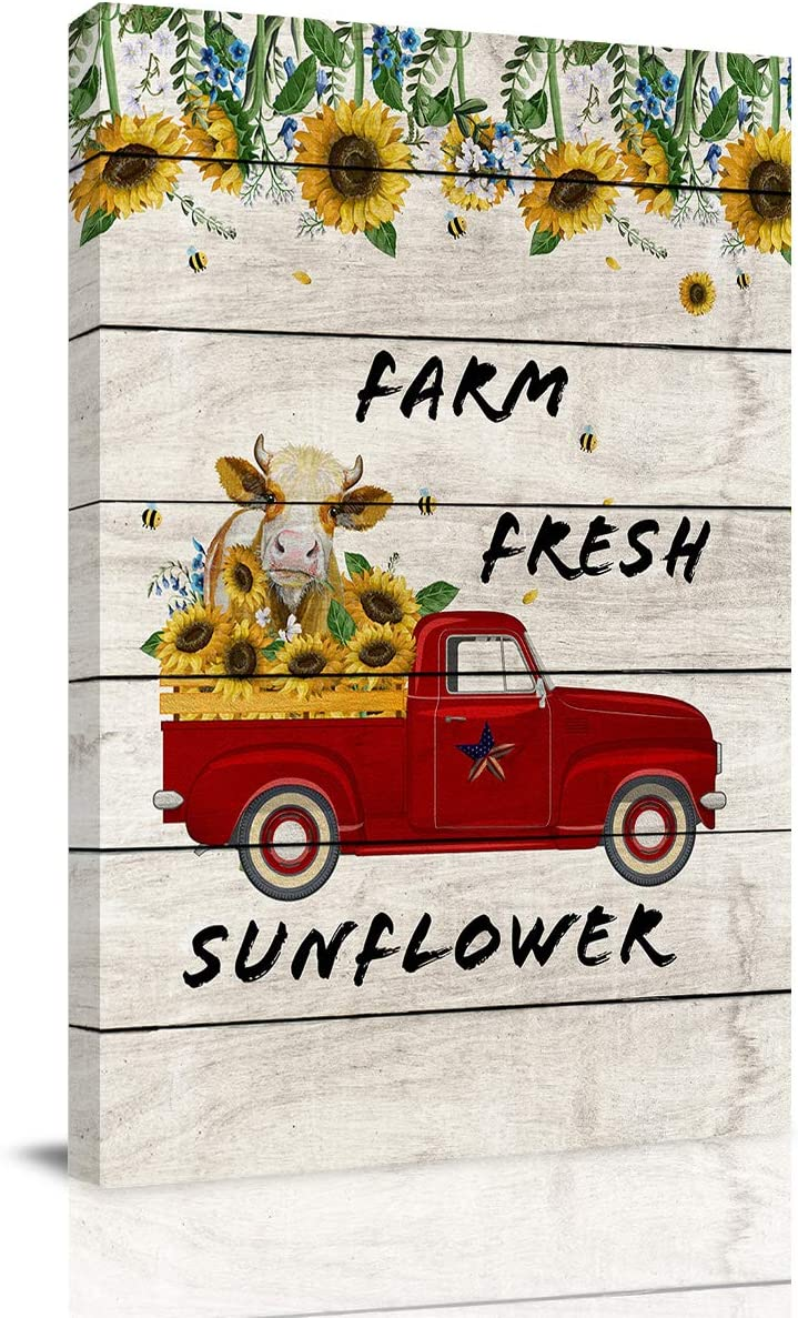Big buy store Canvas Wall Art Picture Sunflowers Farm Fresh Print On Canvas Giclee Artwork Cow Cattle on Truck,Rustic Wooden Home Office Decorations Wall Decor Ready to Hang - 12x8 inches