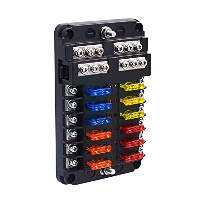 BlueFire Upgraded 12 Way Blade Fuse Box Fuse Box Holder Standard Circuit Fuse Holder Box Block with LED Light Indication & Protection Cover for Car Boat Marine Trike Car Truck Vehicle SUV Yacht RV: Automotive