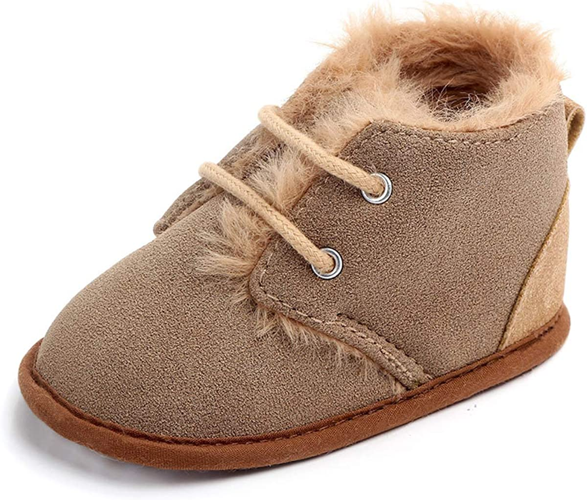 CENCIRILY Infant Baby Girls Boys Suede Boots Anti Slip Rubber Sole Toddler First Walker Warm Winter Snow Shoes