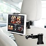 車載ホルダー タブレット 後部座席 ヘッドレスト 360度回転 タブレット&スマホ両対応 ヘッドレスト取付式 4.7-10インチ対応 車載用 ホルダー (車載 黒)