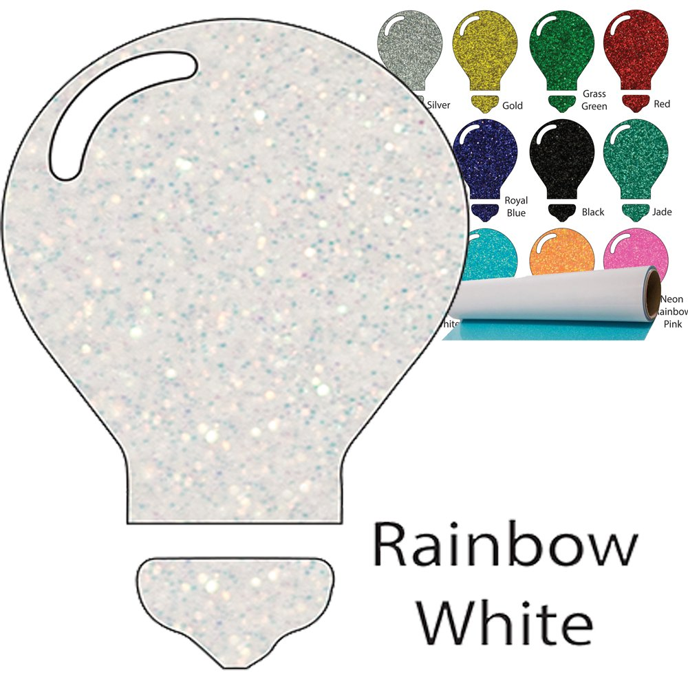 Color Theory Glitter Heat Transfer Vinyl (HTV) 20'' x 5yd Rainbow White by Greenstar