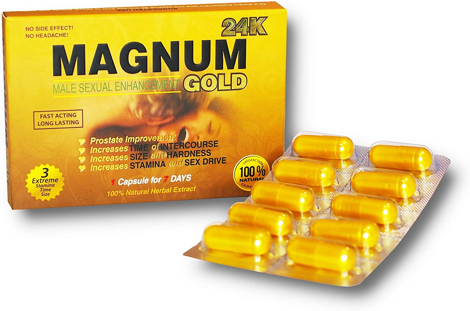 Magnum Gold 24k 10 Capsules, Natural Male Energy Supplement, Natural Amplifier for Energy, 10 Gold Capsules: Health & Personal Care