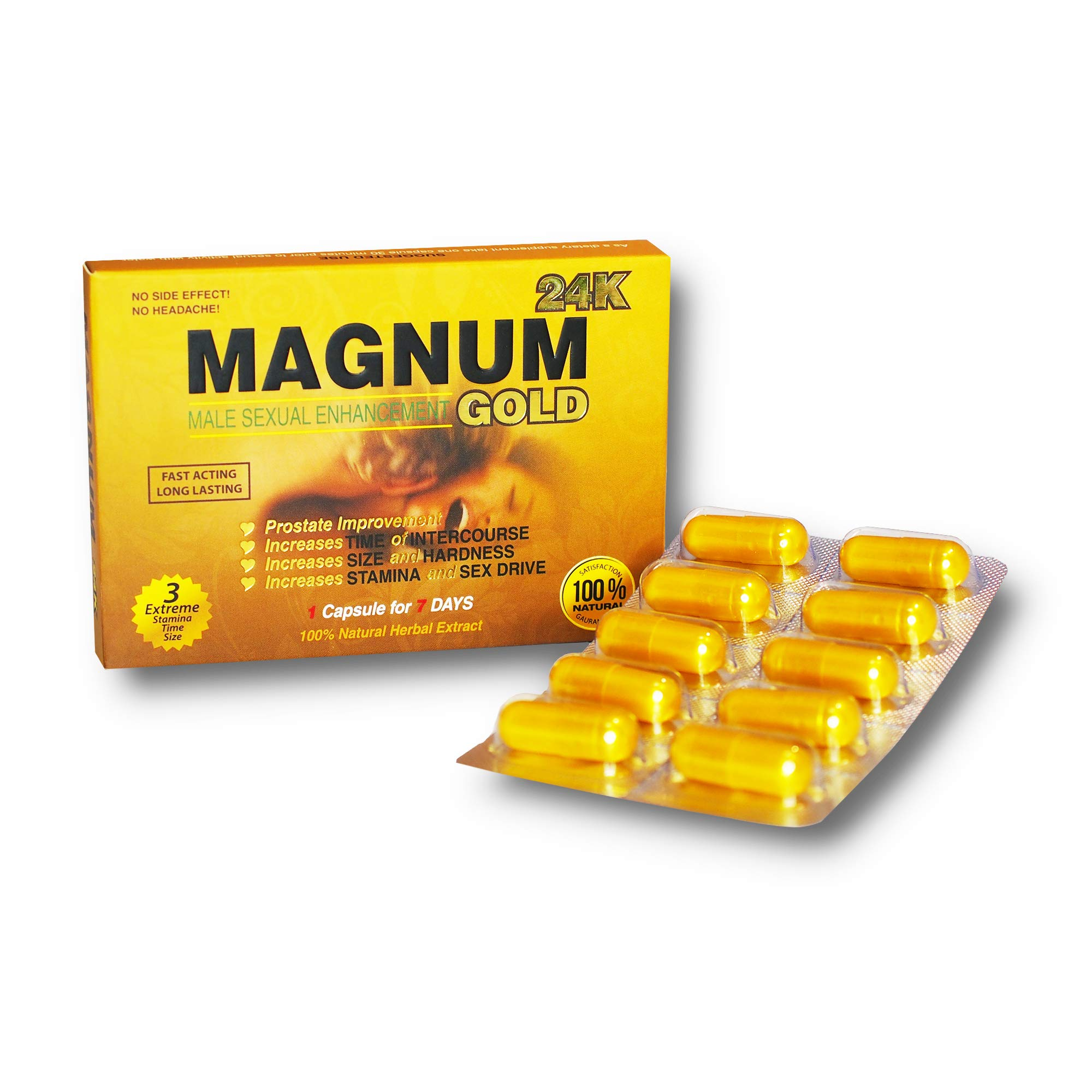Magnum Gold 24k 10 Capsules, Natural Male Energy Supplement, Natural Amplifier for Energy, 10 Gold Capsules