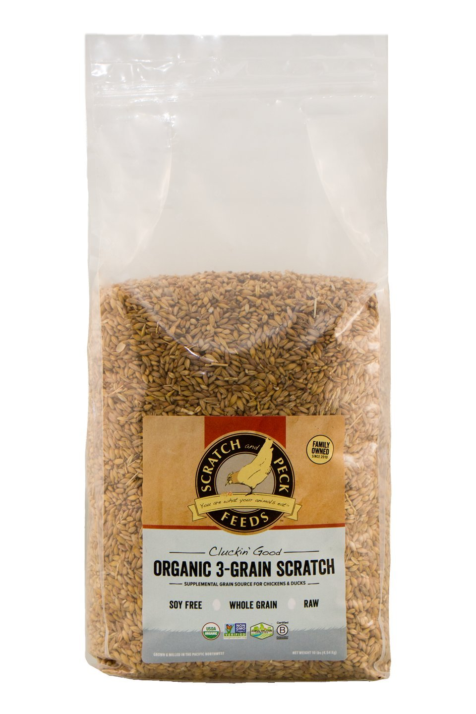 Scratch and Peck Feeds - Cluckin' Good Organic 3-Grain Scratch for Chickens and Ducks - Organic and Non-GMO Project Verified - 10-lbs by Scratch and Peck Feeds